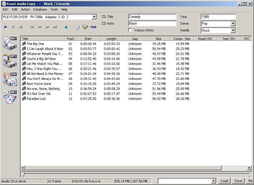 Программа для записи музыки на CD Exact Audio Copy 0.99. Музыка